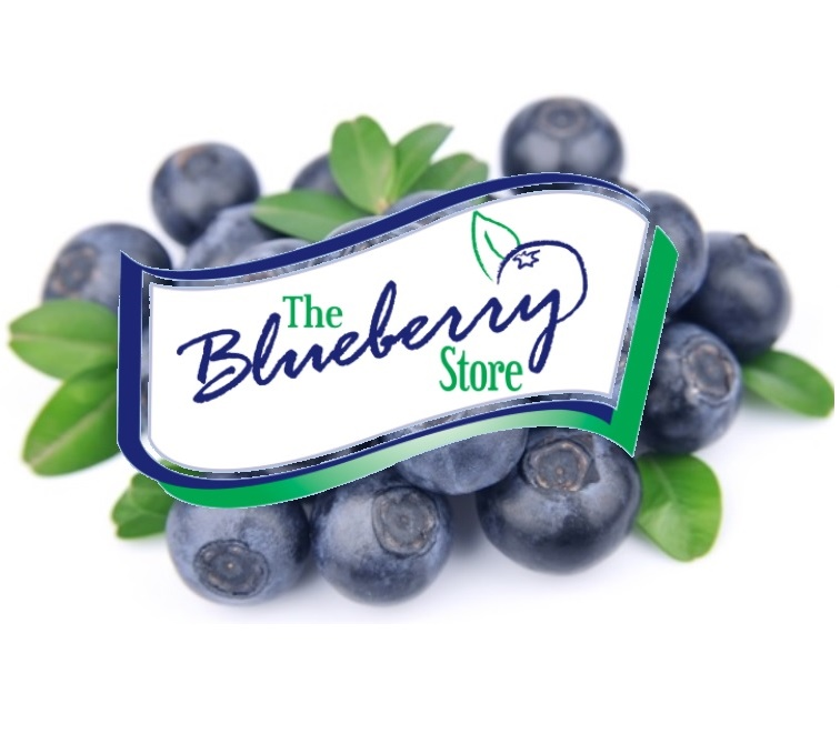 the blueberry store logo placed over a picture of blueberries